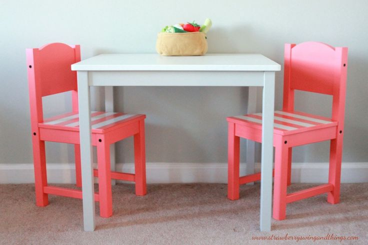 Great Ikea Hack! Painted Kids Table with Coral Chairs - love.