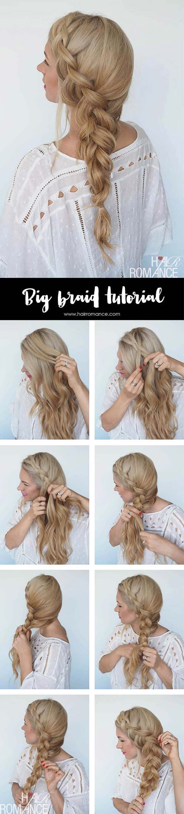 Best Hair Braiding Tutorials - Big Braid + Instant Mermaid Hair Tutorial - Easy Step by Step Tutorials for Braids - How To Braid Fishtail, French Braids, Flower Crown, Side Braids, Cornrows, Updos - Cool Braided Hairstyles for Girls, Teens and Women - School, Day and Evening, Boho, Casual and Formal Looks http://diyprojectsforteens.com/hair-braiding-tutorials