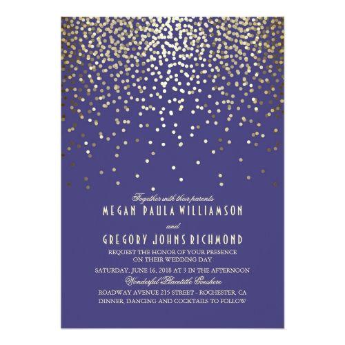 Gold Confetti - Starry Lights Navy Wedding Card