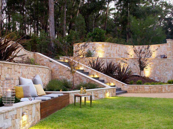 sandstone feature walls amid a bushland retreat in 2019