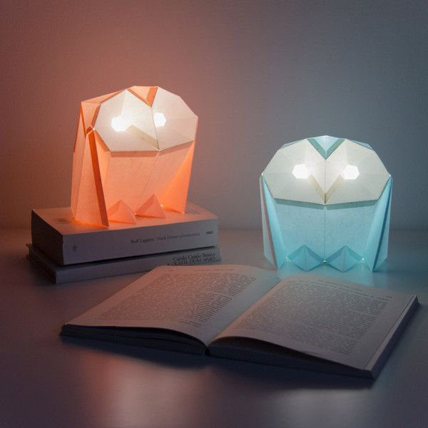 """Barn Owl - Two DIY Colour Paperlamps. Our """"Barn Owl – Two DIY Paperlamps"""" is a beginner's papercraft kit for you to build 2 easy and small models. Via en.DaWanda.com."""