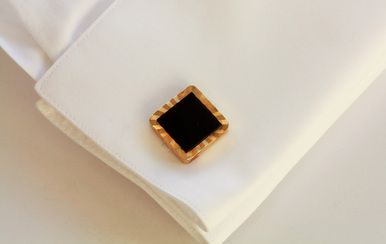 Pair of Rolled Gold Square Cufflinks with Black Onyx Centre.
