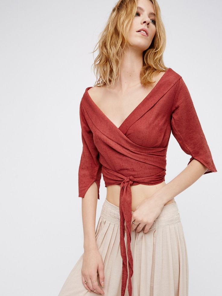 Come Back Wrap Top | Made from our sheer and gauzy Endless Summer fabric, this chic top features a lovely wrapped design with a femme off-shoulder silhouette. Throw on top of a bikini or layer over one of our seamless styles for an effortless look.