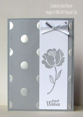 2/22/2014; Sara at 'Sara's Crafting & Stamping Studio' website; stampsL  Simple Stems, Petite Pairs; Silver Fancy Foil Designer Vellum + other SU products; I LOVE THIS CARD!!!