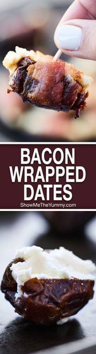 These Bacon Wrapped These Bacon Wrapped Dates are perfect for...  These Bacon Wrapped These Bacon Wrapped Dates are perfect for football (or any!) snacking! Only 3 ingredients - bacon dates goat cheese - and 20 minutes needed for the easiest and tastiest snack! showmetheyummy.com #baconwrappeddates #goatcheesedates Recipe : http://ift.tt/1hGiZgA And @ItsNutella  http://ift.tt/2v8iUYW