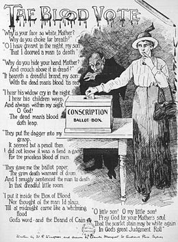 """A poster titled """"The Blood Vote"""" depicting a woman pondering how she should vote on the issue of conscription, while the Australian prime minister, William Hughes, depicted as a vampire stands behind her."""