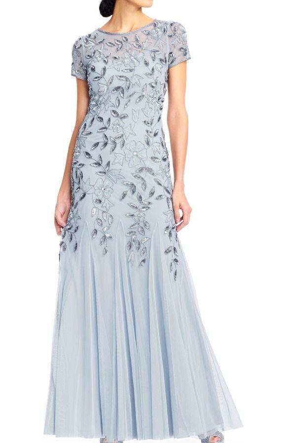 Adrianna Papell Floral Beaded Godet Gown Light Blue Dress Poshare In 2020 Dresses Pink Prom Dress Light Blue Dresses