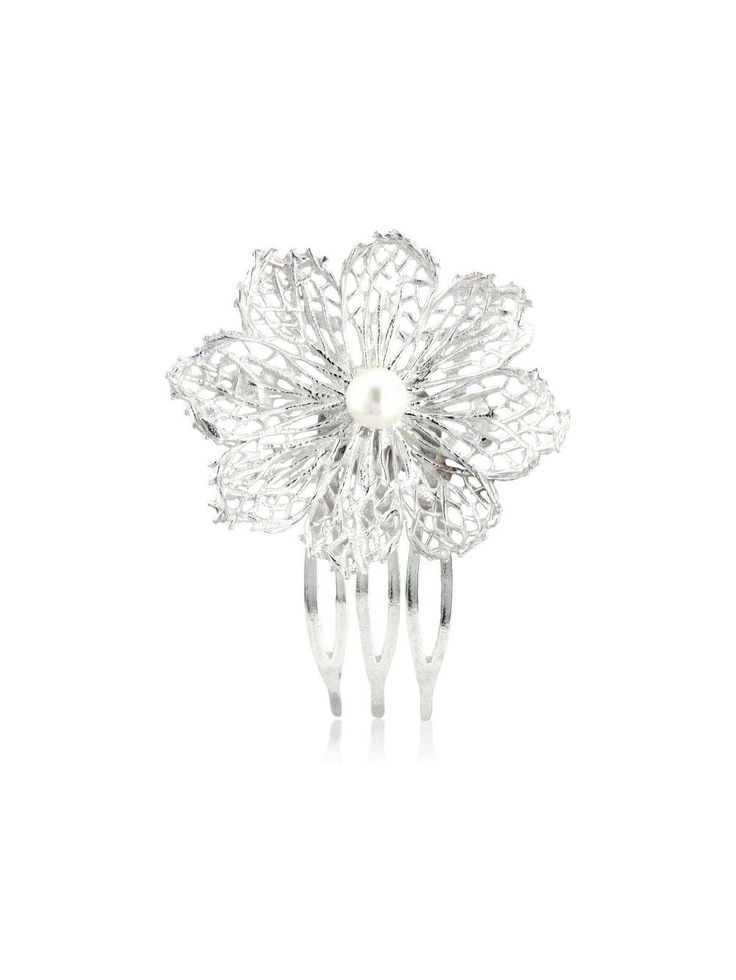 Hafey hairpieces  The shape of the flower would tell about your romantic mood. It is tender and very beautiful.  Material: 925 silver  Hafey collection also includes earrings and necklaces with a pearl.  #hairpieces #AurumByGudbjorg #bridal