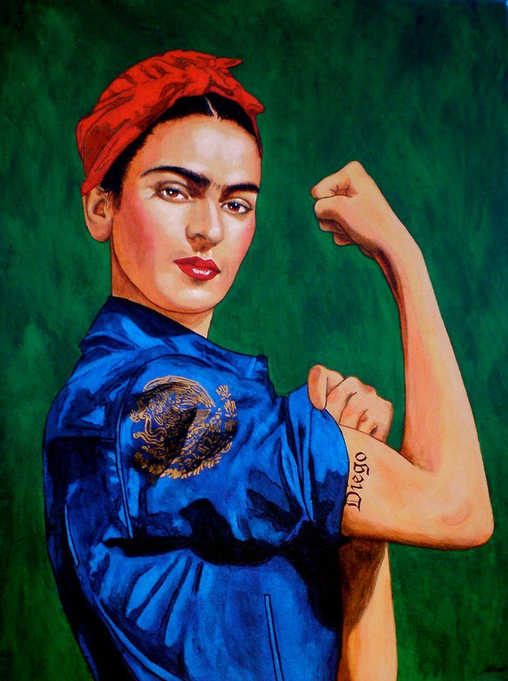 Frida the Riveter. Mexican art, poncho satire & feminism. Frida & Diego.