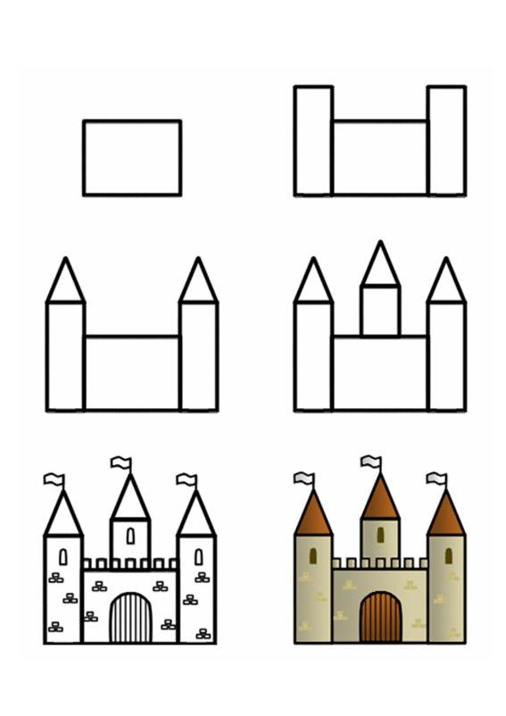 Teken een kasteel, draw a castle, kleuteridee