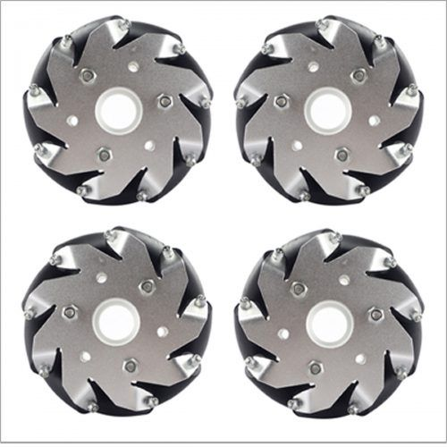 (4 Inch) 100mm Aluminum Mecanum Wheels Set Basic (2 Left, 2 Right) 14162. Each wheel is comprised of 9 rollers. It is driven independently.