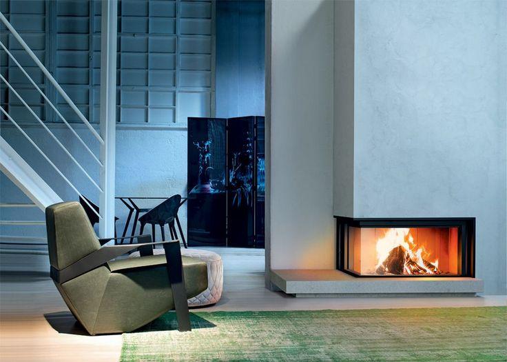 Modern designed living room rectangle two sided corner fireplace