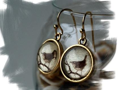 dangly gold wren earrings
