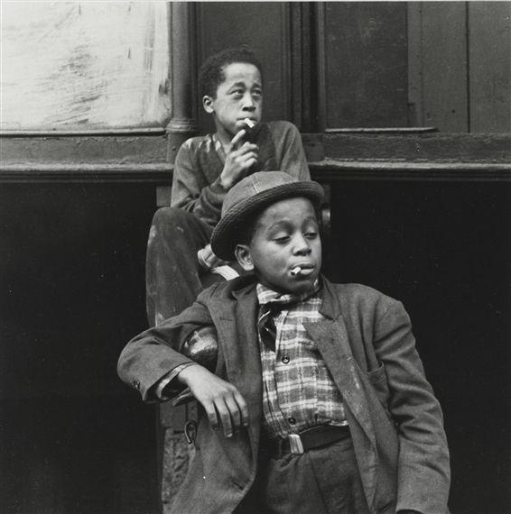 BOYS WITH CIGARETTES..  Photographer Helen Levitt- 1940
