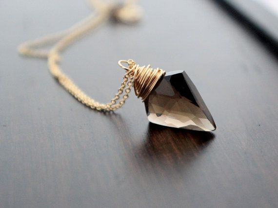 Arrowhead Necklace in Gold, Smoky Quartz Gemstone Pendant, Tribal Boho Fashion - Arrow: Etsy – SaressaDesigns