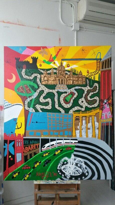 District Sants-Montjuïc, Barcelona Art Serie, 160x130cm, artist : Karlijn Surminski