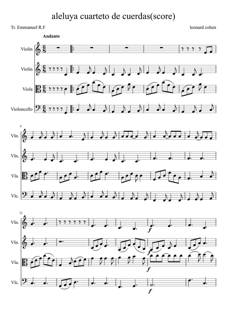 Sheet music made by Emmanuell for 4 parts: Violin, Viola, Violoncello