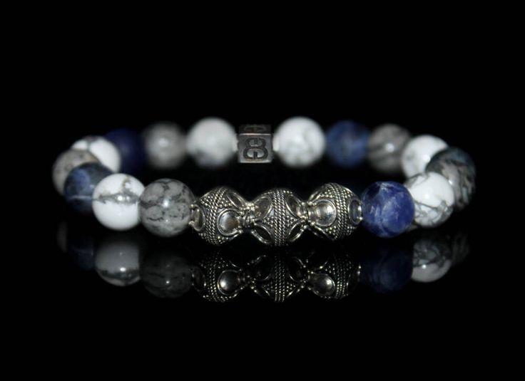 Men's Mixed Stone Bracelet, Men's Sodalite Bracelet, Men's Howlite Bracelet, Men's Gray Bracelet, Men's Designer Bracelet, Men's Bracelet by KartiniStudio on Etsy https://www.etsy.com/listing/527198448/mens-mixed-stone-bracelet-mens-sodalite