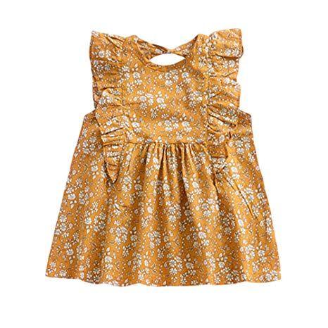 23b9a4b57 YOHA Baby Girls Ruffle Jumper Dress Suspender Skirts Pinafore Toddler Dress  Floral,80