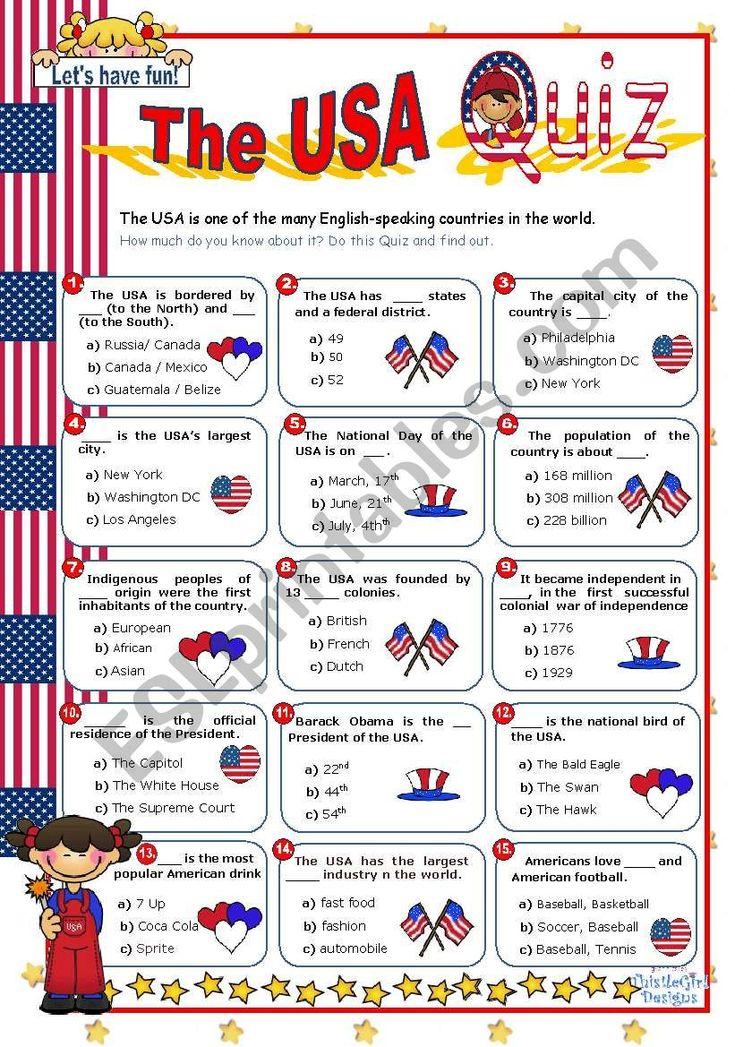 The USA Quiz worksheet   Quiz, Worksheets for kids ...