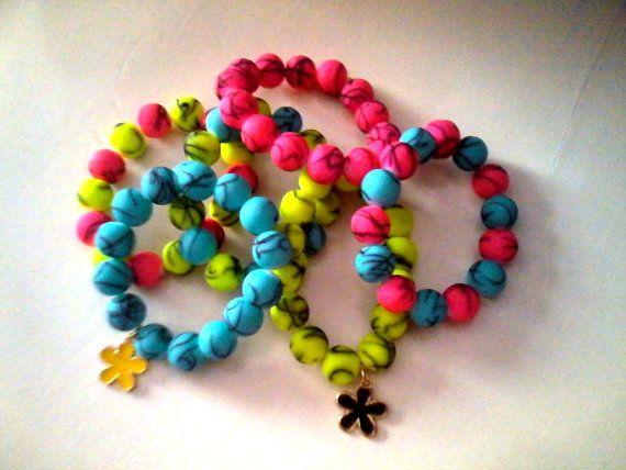 summer fluo charm bracelets set of 3 / new by KaterinakiJewelry, $5.50