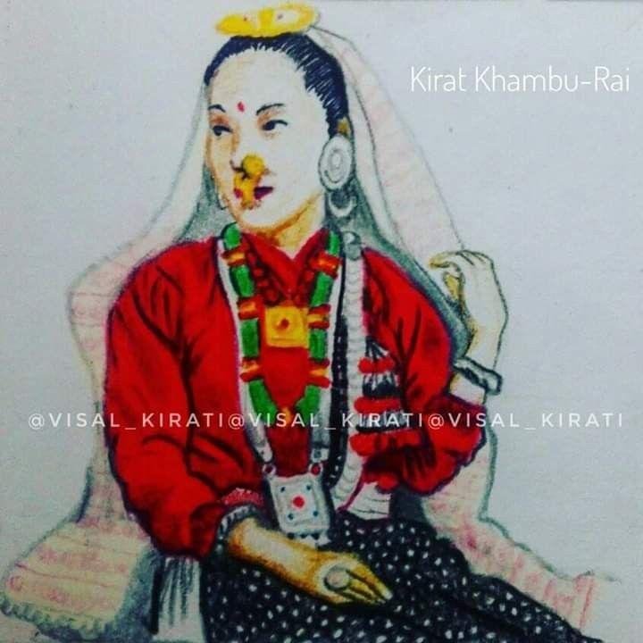 Kirat Rai Women In Traditional Attire Art By Vishal Kirati Art Character Traditional