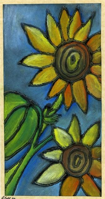 Chalk Pastel Sunflowers Liimalla rajat, väreillä täytetään ja UPEA!