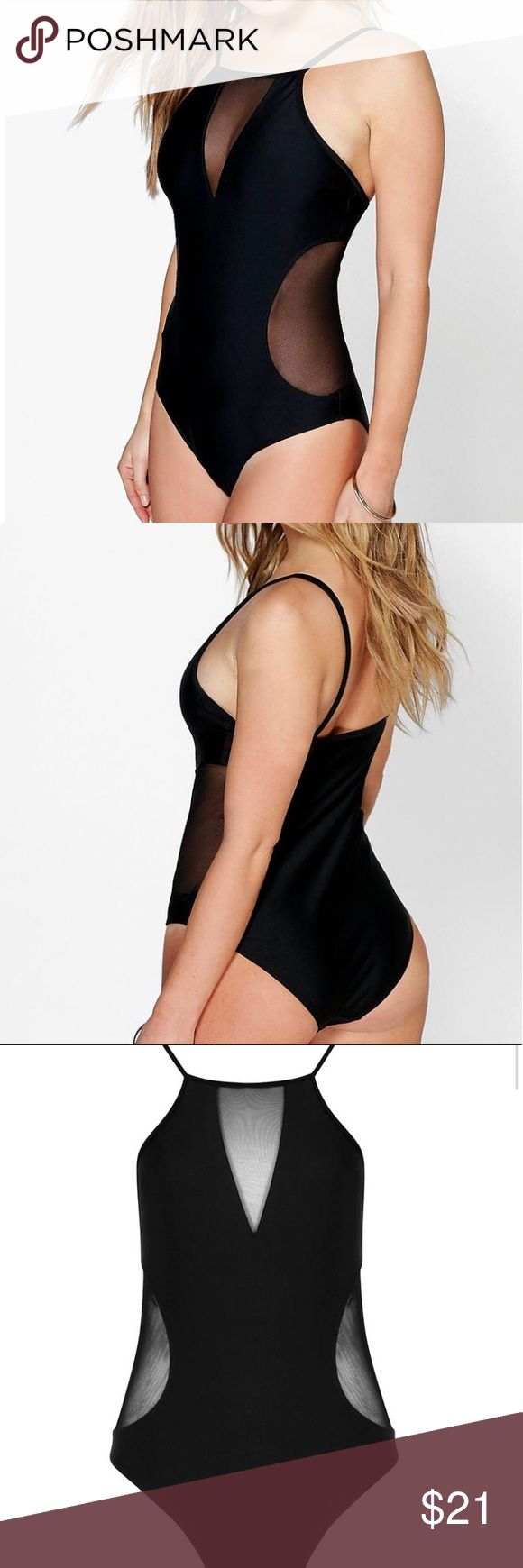 NWT Black Swimsuit New and never use it. Petite size. Boohoo Swim One Pieces