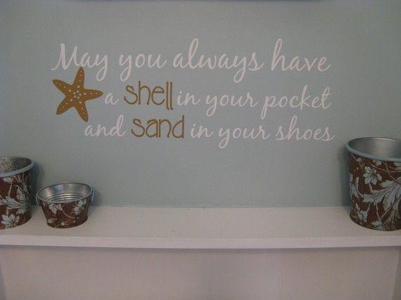 Beach themed bathroom!: Beach Sayings, Shells, Pocket, Beach House, Quote, Wall Decals, Beach Bathroom, Beach Themed Bathroom