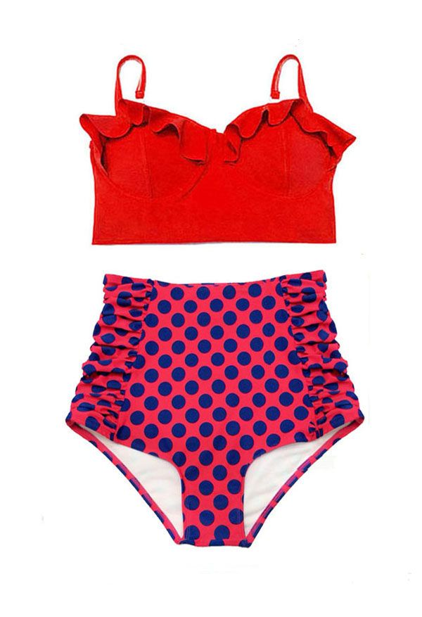 Red Top and Polka dot Ruched High Waist Waisted Vintage Shorts Bottom Bikini set Swimsuit Swimsuits Swimwear Bathing suit Swim costume S M L by venderstore on Etsy