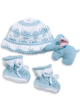Crochet Hat and Booties Set for Baby - Free Instructions Pattern - http://www.favecrafts.com/Crochet-for-Baby/Crochet-Hat-and-Booties-Set-for-Baby