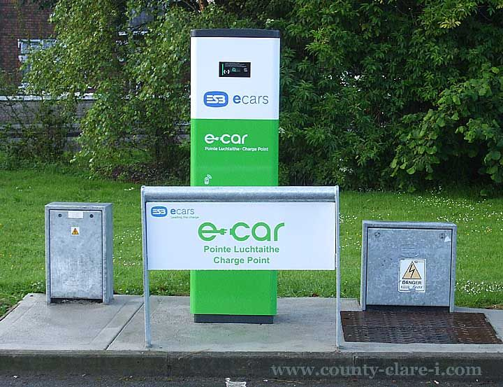 The shot is of the charging point at Glor in Ennis; there is also one at the Abbey Street car park and the Bus and Rail Station. See map of charge points throughout the country at the ESB E Car site by clicking here.Charge Point for an Electric (E) Car at Glor Ennis.