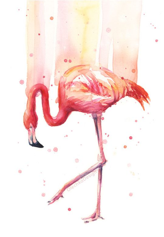 "Flamingo Watercolor ""Pink Rain"" by Olga Shvartsur"