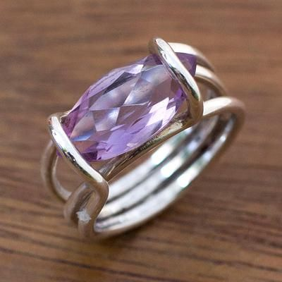 Brazilian Artisan Crafted Amethyst Cocktail Rng - Purple Majesty | NOVICA