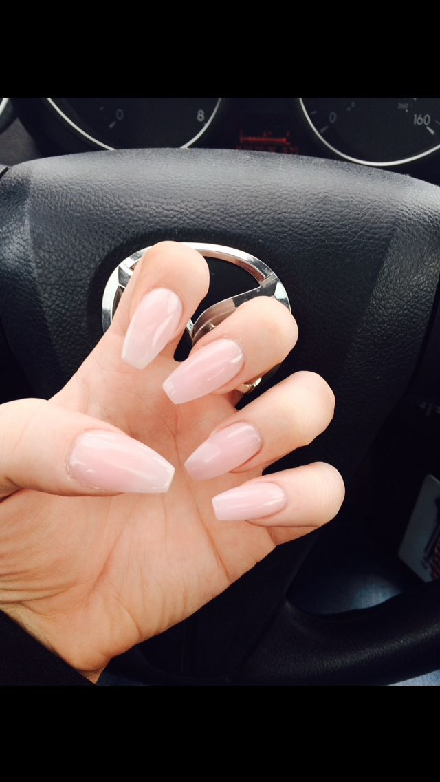 Light pink coffin tip nails #mynails