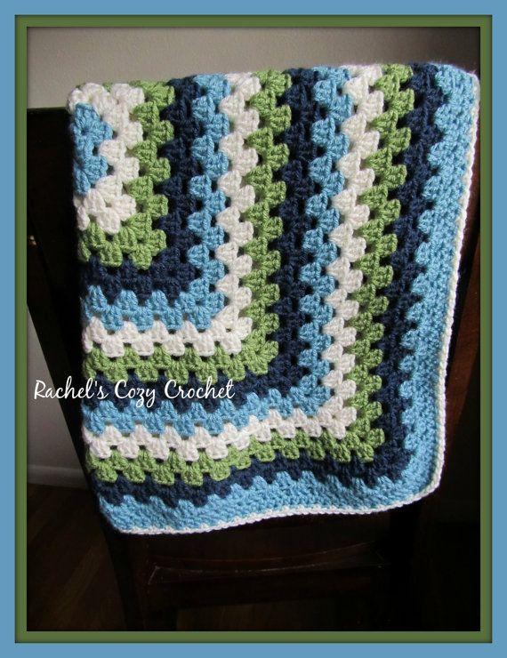 Baby Boy Crochet Blanket  Modern Granny by RachelsCozyCrochet