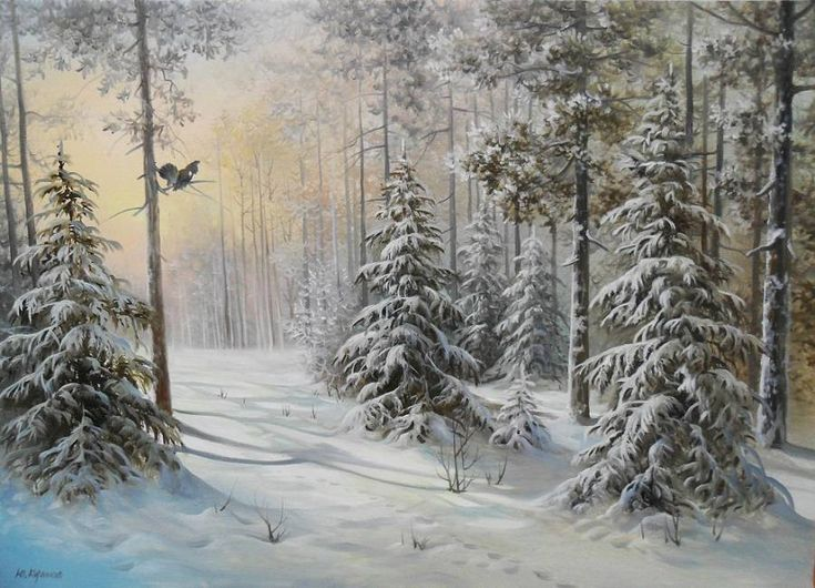 Зимние пейзажи, художник Юрий Корников