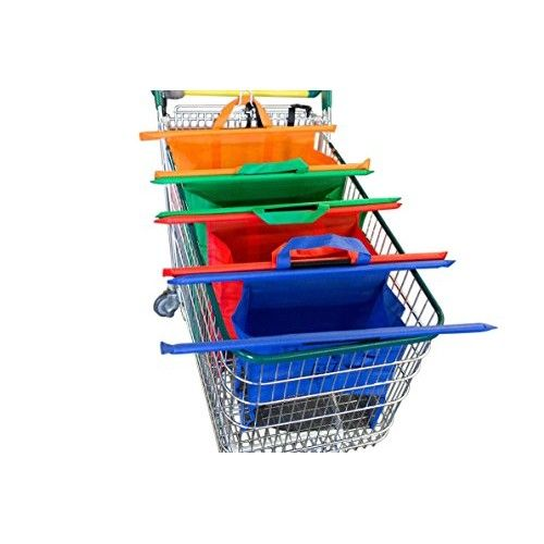 Reusable Shopping Cart Trolley Bags by LUTO - Set of 4 - Heavy Duty With Handles - Carry all your grocery and other items - Foldable and Washable.