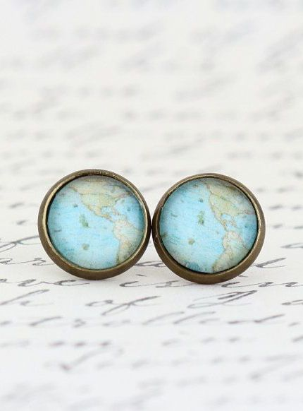 Map Earrings Map Jewelry Vintage Map Print