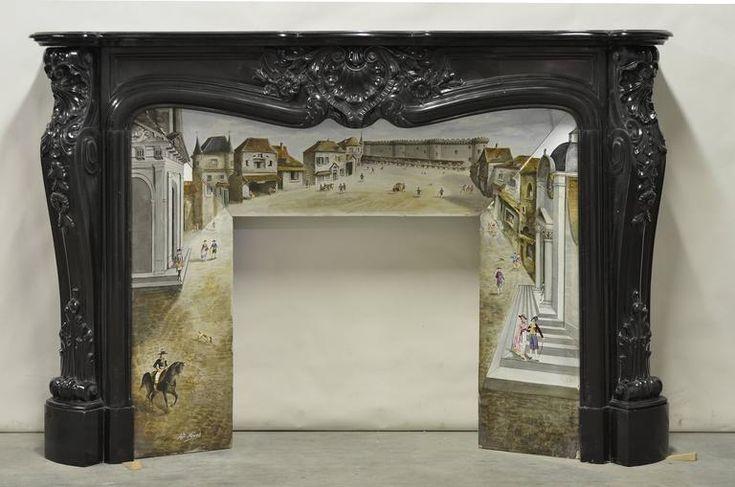 Красивая, Редкий черный мрамор французский Людовик XV Камин с оригинальной вставкой 2