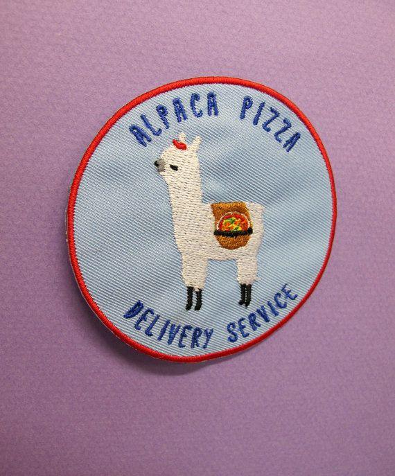 Alpaca Pizza Delivery Service IronOn Patch by catrabbitplush