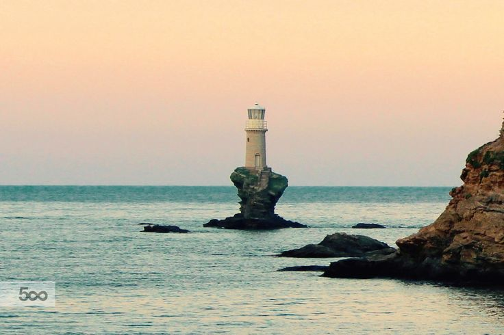 The famous beacon at the Hora of Andros island in Greece.