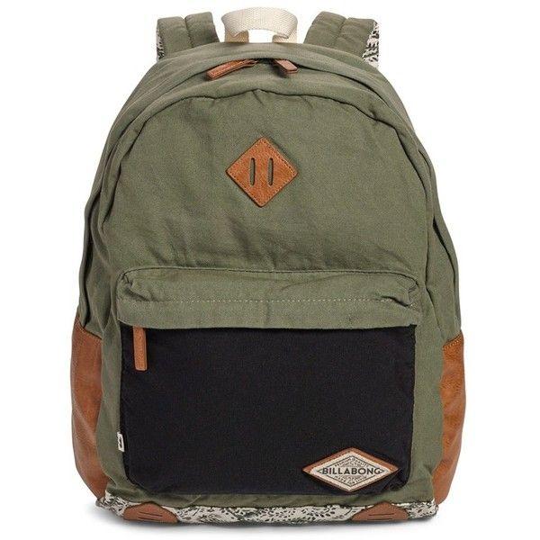 Junior Billabong 'Hidden Trek' Geo Print Canvas Backpack ($55) ❤ liked on Polyvore featuring bags, backpacks, moss, canvas sports bag, beach bags, billabong backpacks, canvas rucksack and canvas sport bag
