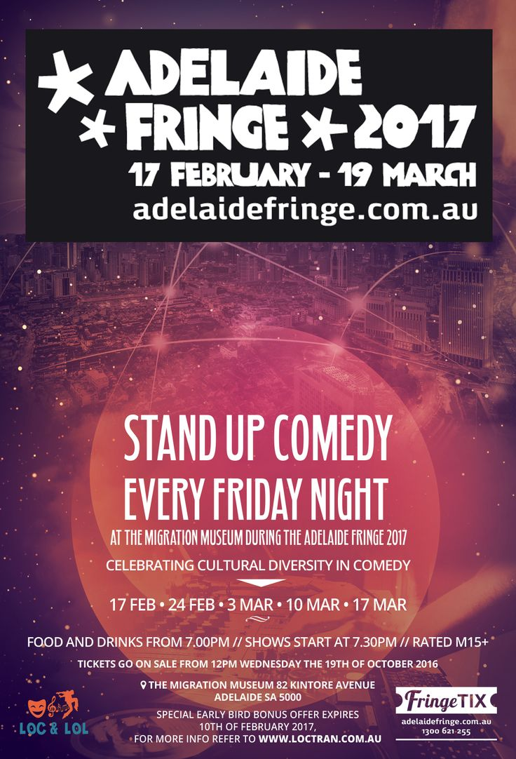 Stand Up Comedy Every Friday Night At The Migration Museum During The Adelaide Fringe 2017  Celebrating Cultural Diversity In Comedy  Click here to learn more... http://loctran.com.au/stand-up-comedy-every-friday-night-at-the-migration-museum-during-the-adelaide-fringe-2017/