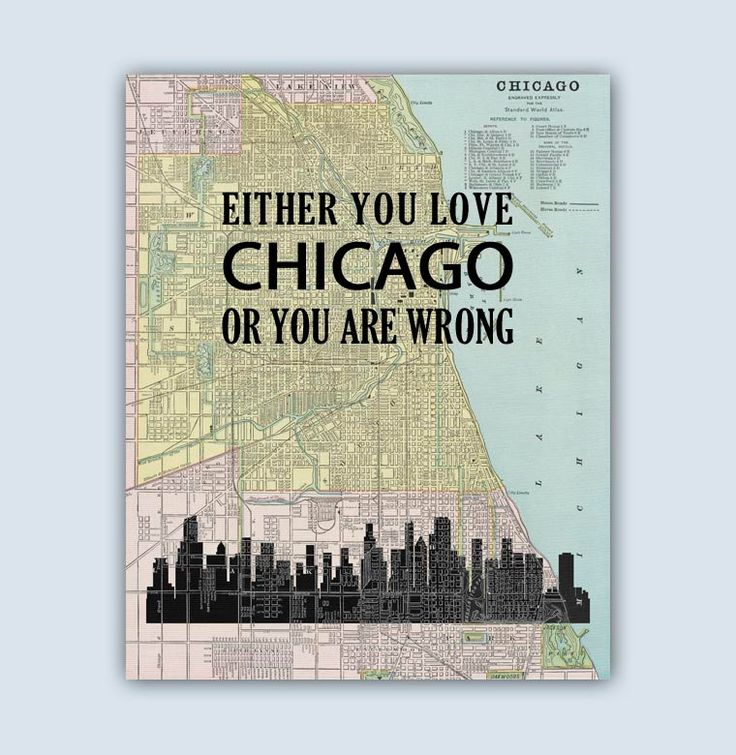 Chicago Art Print, Chicago City Map, Chicago Decor, Chicago Skyline, Chicago Wall Art, Chicago Quote, Chicago Poster, Chicago Illinois by GeographicArt on Etsy