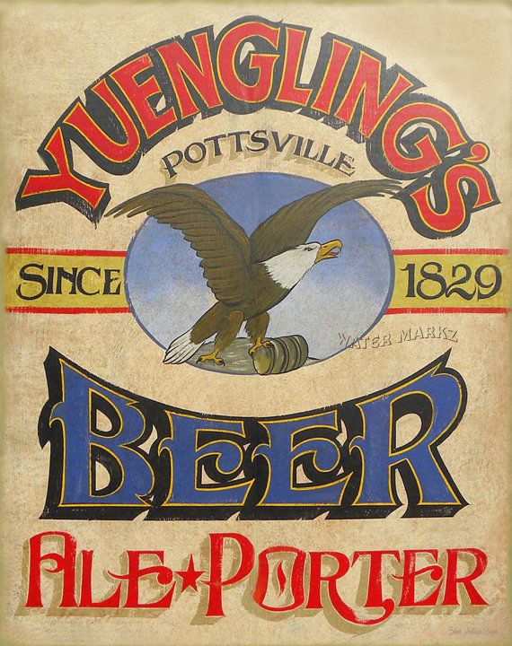 Yuengling BEER Print with MAT wall hanging by ZekesAntiqueSigns, $15.00