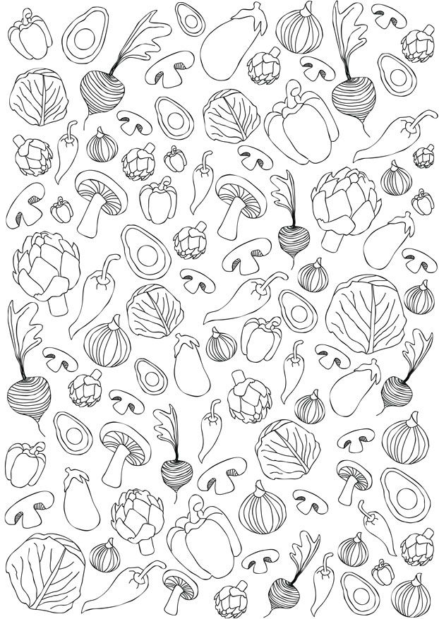 Printable - Free Download - Illustration black white - Patterns and prints - Vegetables Gift Wrap