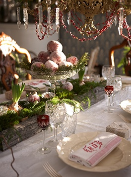 Love the monogrammed napkins, the cranberry chain on the chandelier, the forced bulbs and the sugared fruit.  Warm and elegant!