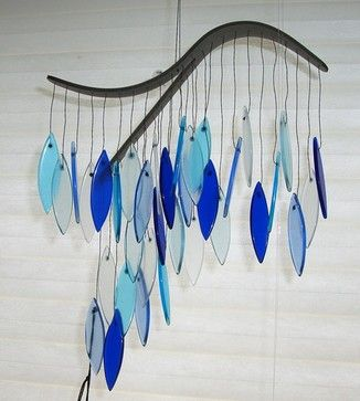 Ocean Blue Glass Wind Chime by Harvest Gold Gallery contemporary mobiles