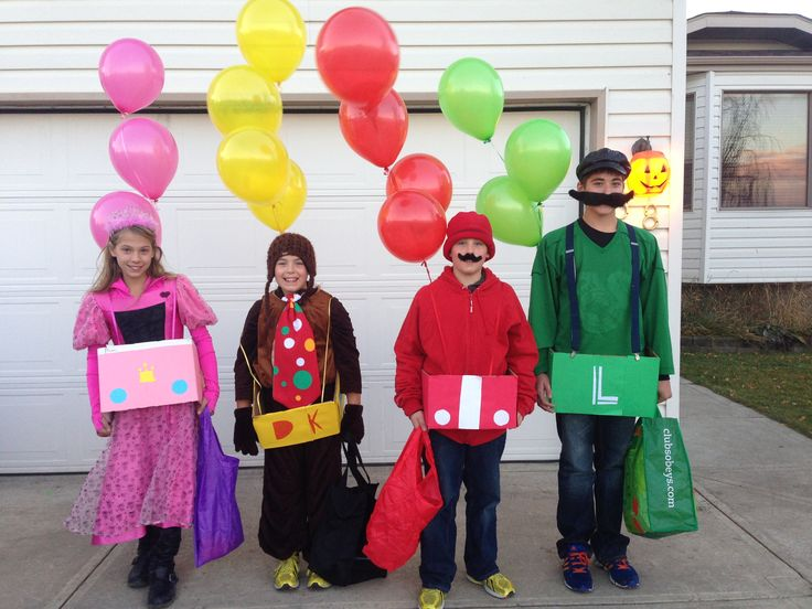Mario Cart Halloween Costumes!  My children had fun making their own creative Mario Cart Halloween costumes.  Cars are made from contraction paper and boxes; add a few helium balloons. Costumes they put together from around the house and a trip to the second hand store.